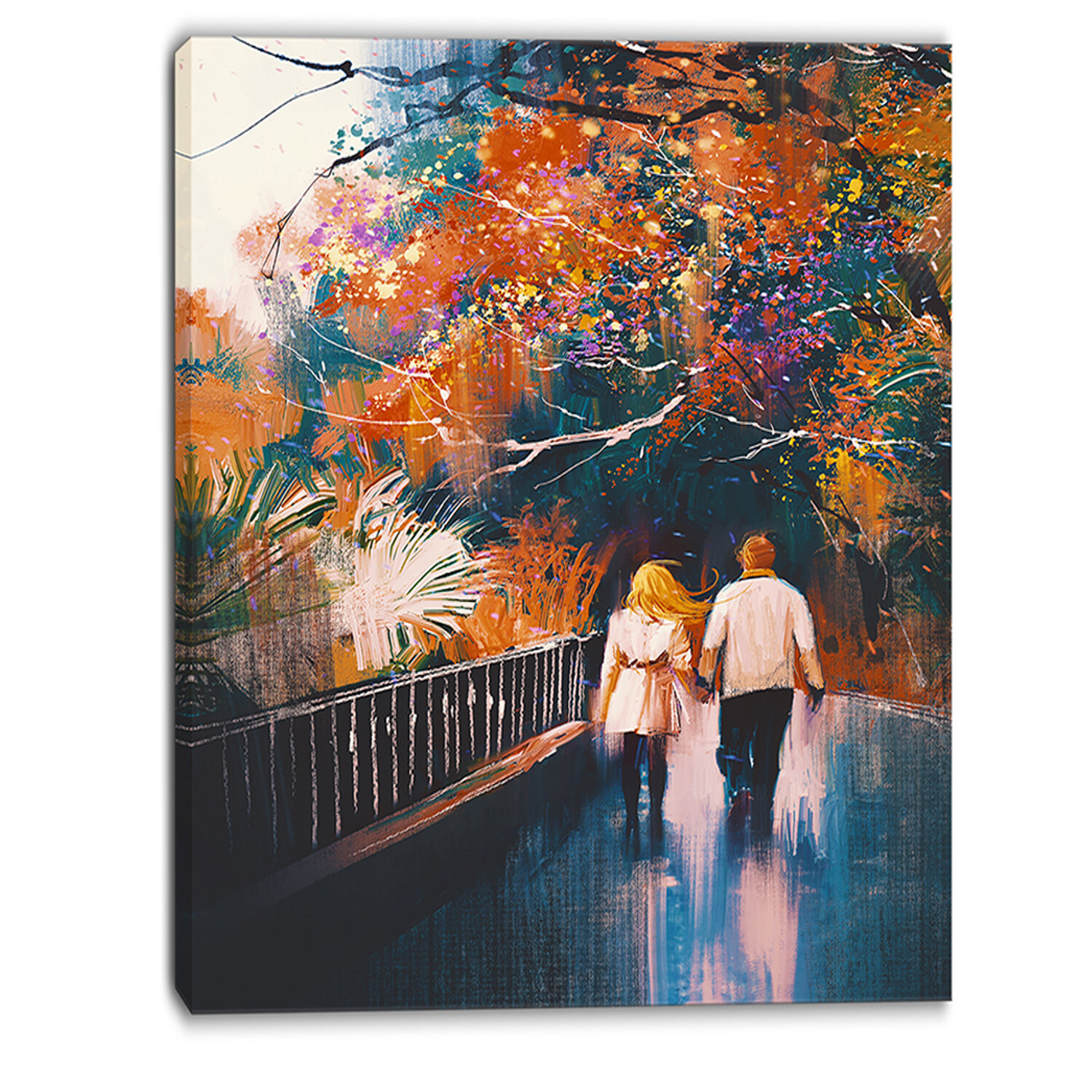 Couple Walking Holding Hands Landscape Painting Print On Wrapped Canvas