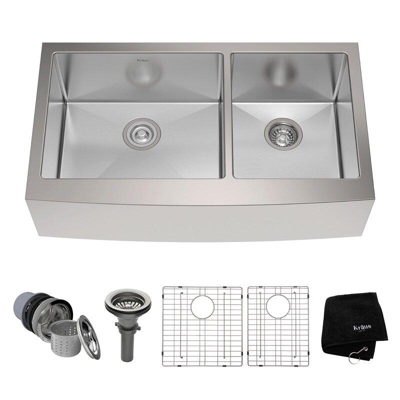 """Bathroom Sinks Double Basin kraus stainless steel 35.88""""x 20.75"""" double basin farmhouse"""