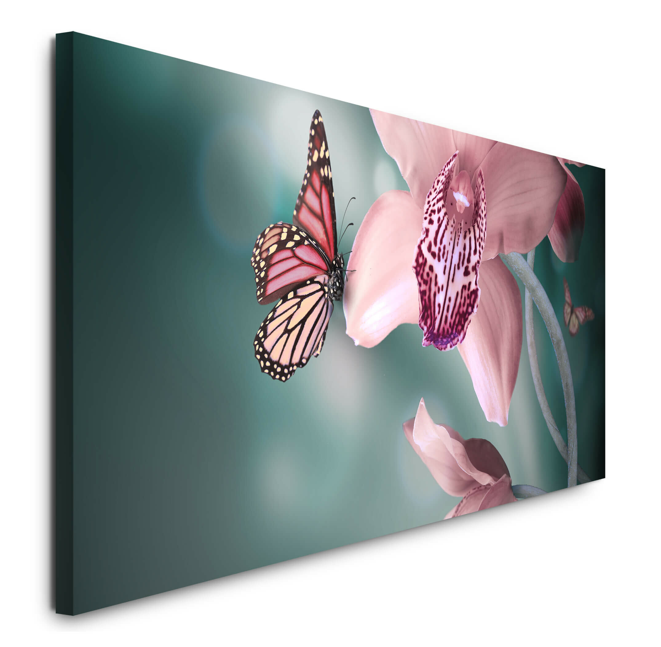 East Urban Home Flower With Butterfly Photographic Art Print On Canvas Wayfair Co Uk