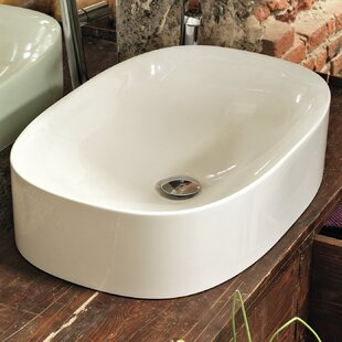 Best Reviews Wild Ceramic Ceramic Rectangular Vessel Bathroom Sink By WS Bath Collections