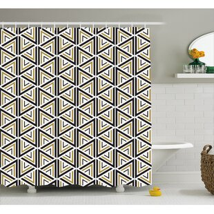 Berger Triangle Shaped Lines Shower Curtain + Hooks