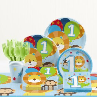 81 Piece One Is Fun Boy 1st Birthday Paper/Plastic Tableware Set
