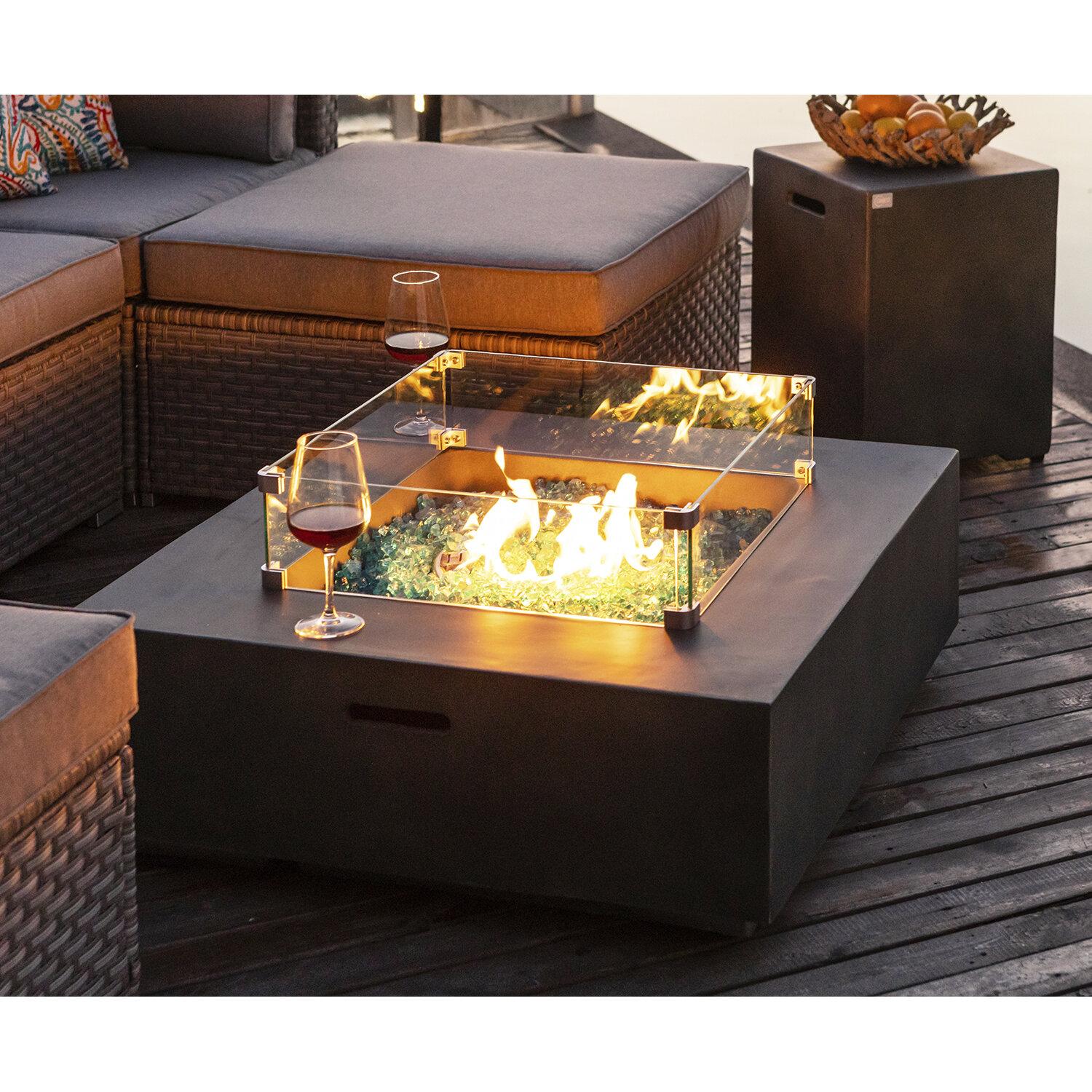 17 Stories Lechlade Concrete Propane Fire Pit Table Reviews Wayfair