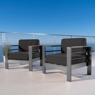 Brayden Studio Crosstown Aluminum Chair with Cushions (Set of 2)