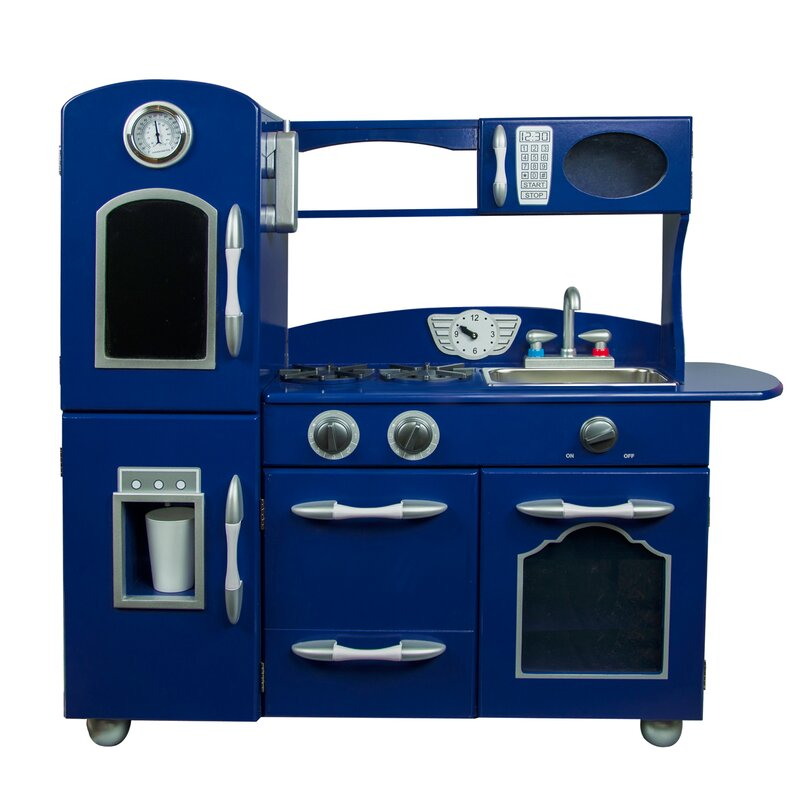 Kidkraft Retro Kitchen Blue teamson kids wooden play kitchen set & reviews | wayfair