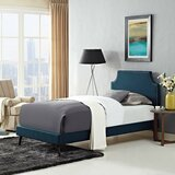 Ayala Twin Vinyl Platform Bed with Round Splayed Legs by Trule