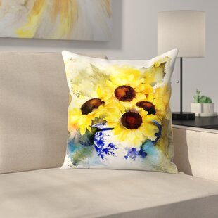 Sunflowers in Blue and White Vase Throw Pillow