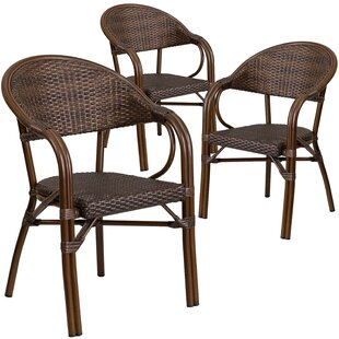 Shelie Rattan Restaurant Patio Chair (Set of 3)