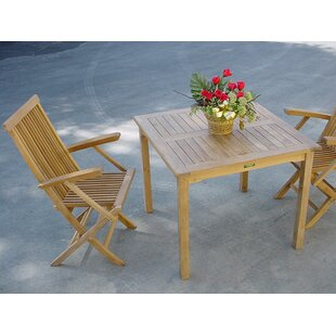 Rosecliff Heights Farnam 3 Piece Teak Bistro Set with Sunbrella Cushions