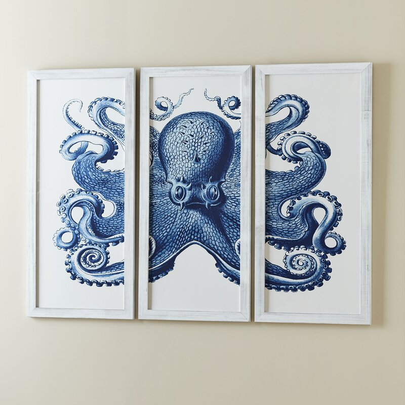 Exceptionnel Blue Octopus Tryptic Wall Art