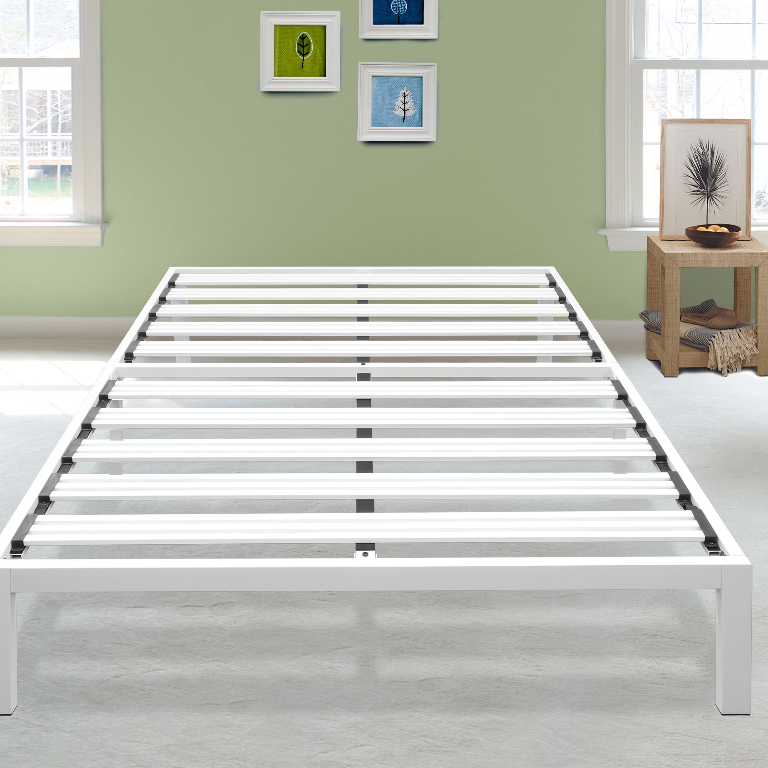 platform metal queen full black twin frame q products king duty size foundation heavy slat bed mattress