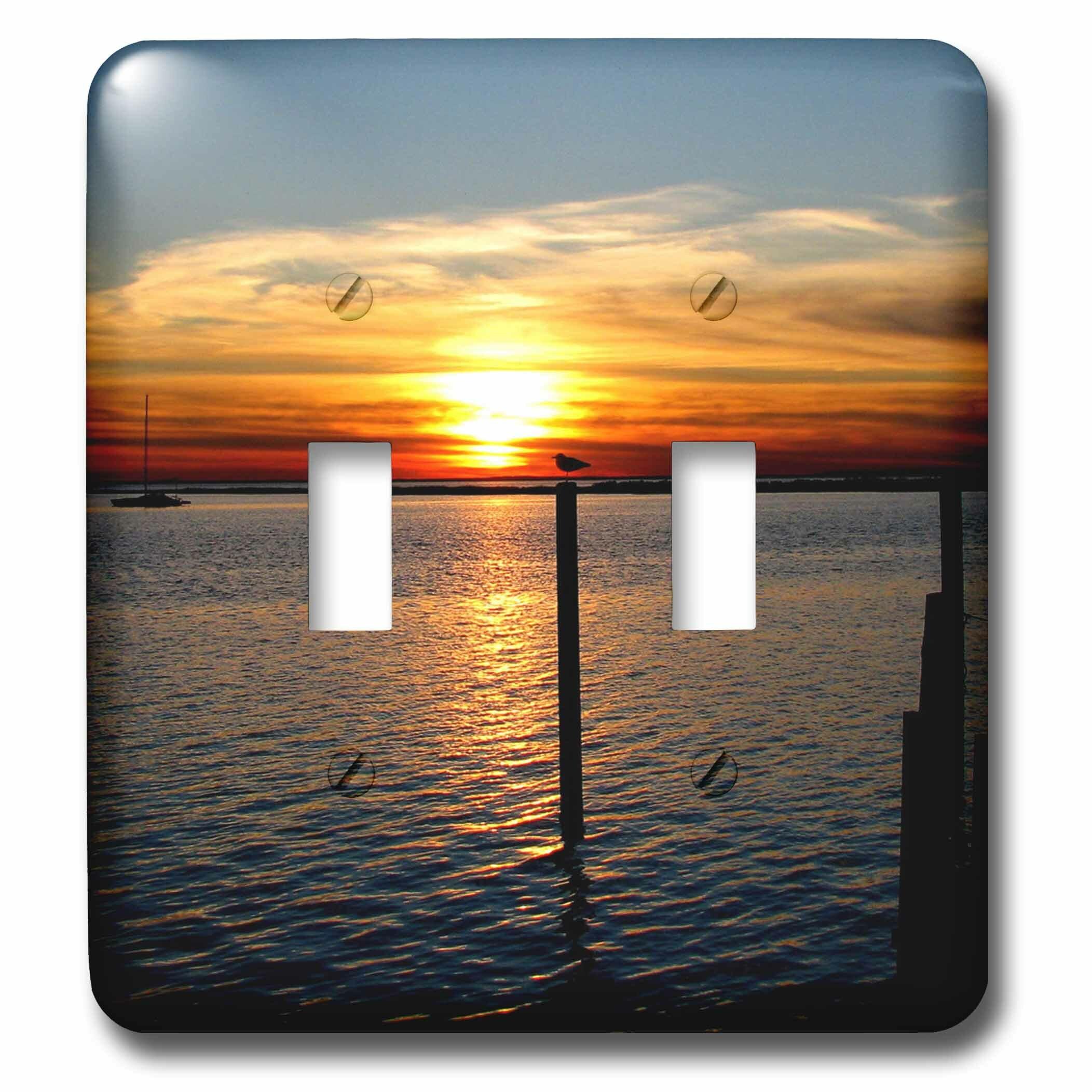 3drose Sunset Orance Ocean Bird Water Silhouette Double Toggle Light Switch Wayfair