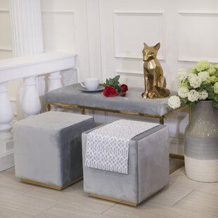 Tinley Solid Velveteen Metal Bench by Everly Quinn