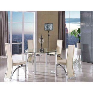 Bernissart Steel Clear Glass Dining Set With 4 Chairs By Metro Lane