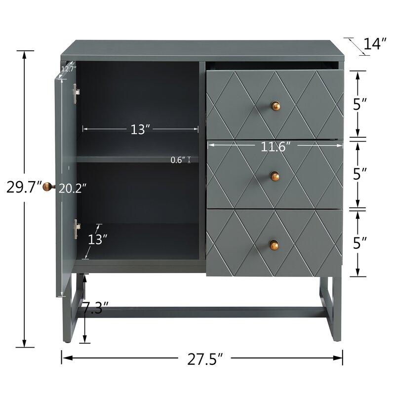 Herny 1 Door Accent Cabinet
