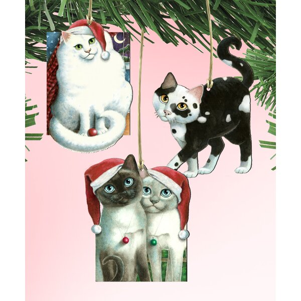 The Holiday Aisle 3 Piece Cats Wooden Hanging Figurine Ornament Set Wayfair