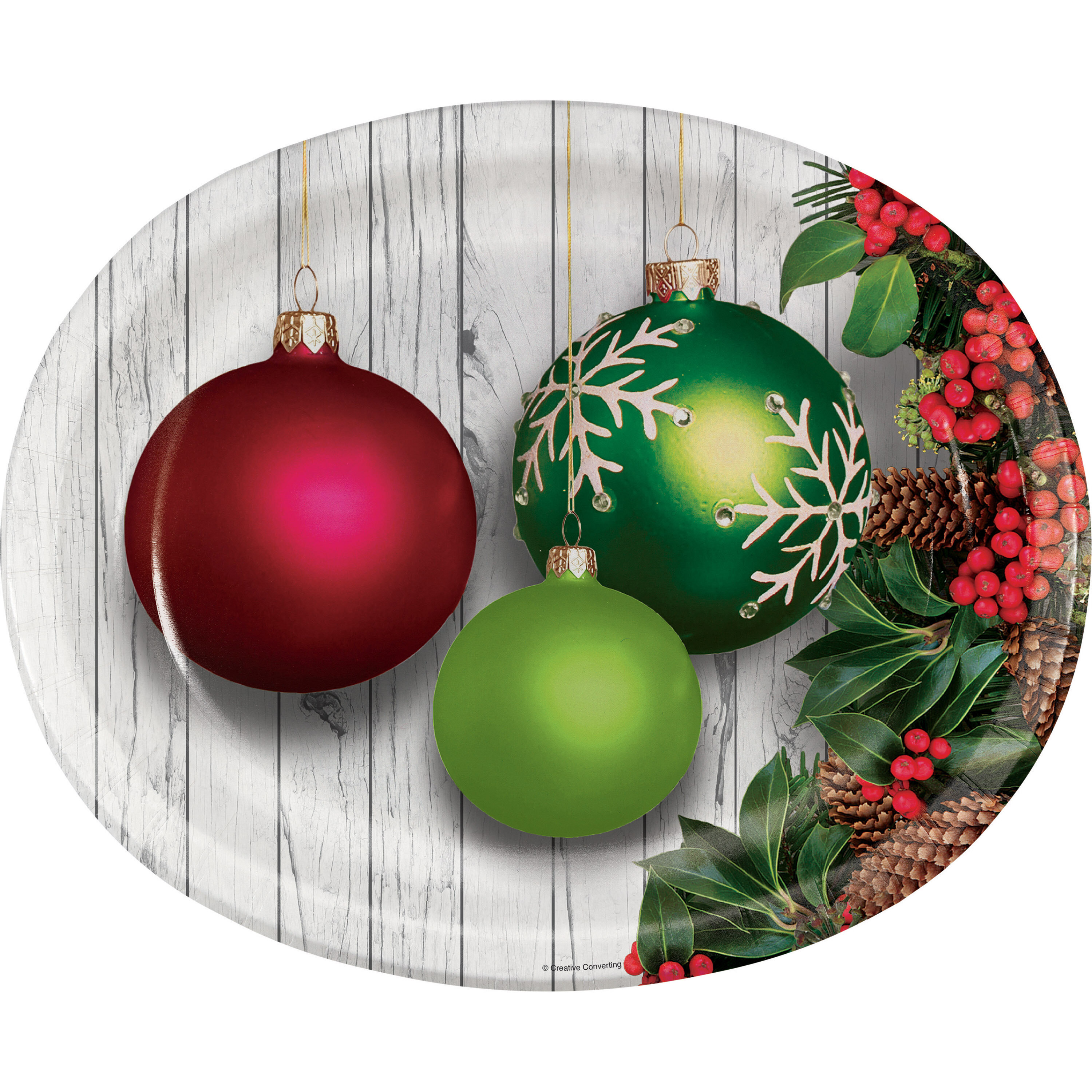 Christmas Paper Plates.Templeton Christmas Ornaments Oval Paper Dinner Plate