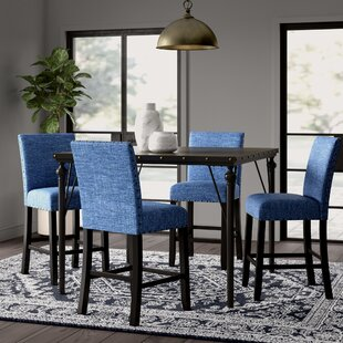 Haysi Wood Counter Height 5 Piece Dining Set with Fabric Nailhead Chairs Greyleigh