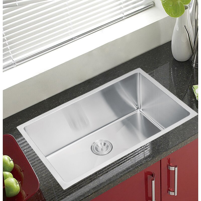 Dcor Design Stainless Steel 30 L X 18 W Single Undermount Kitchen Sink With Coved Corner Drain Strainer And Bottom Grid Wayfair