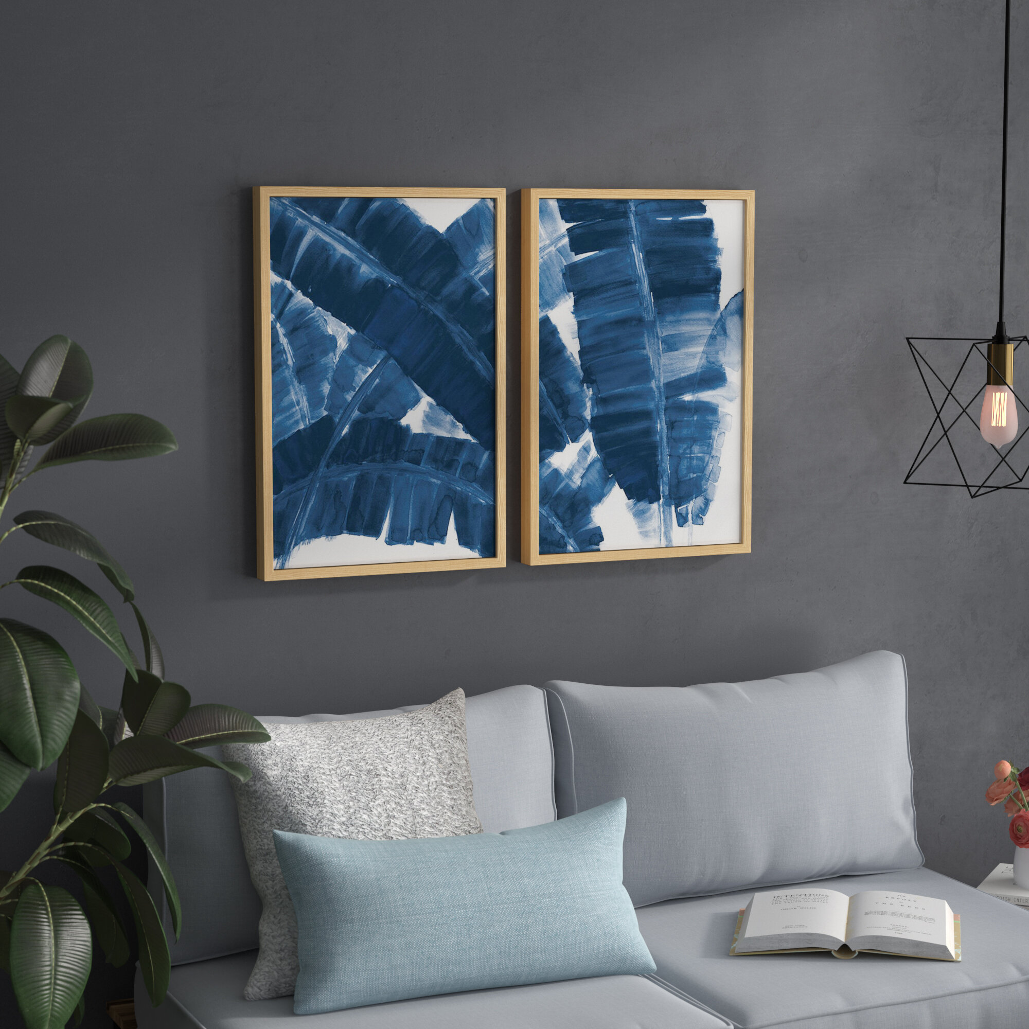 Marvelous Blue Banana Leaves Diptych 2 Piece Picture Frame Print Set On Paper Machost Co Dining Chair Design Ideas Machostcouk