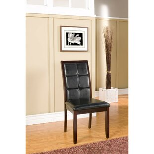 Friedler Suave Genuine Leather Upholstered Dining Chair (Set of 2) Latitude Run