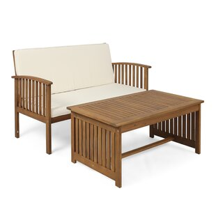 Mabie Outdoor 2 Piece Sofa Seating Group with Cushions