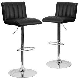 Milardo Adjustable Height Swivel Bar Stool (Set of 2) Wrought Studio