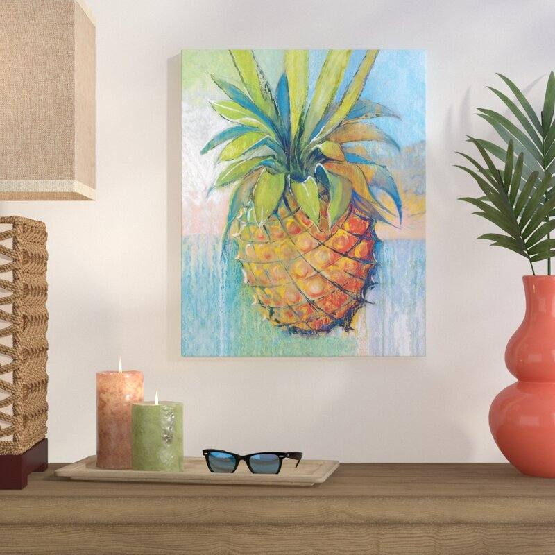 Pineapple Wall Art - 'Tropical Pineapple' Acrylic Painting Print on Wrapped Canvas