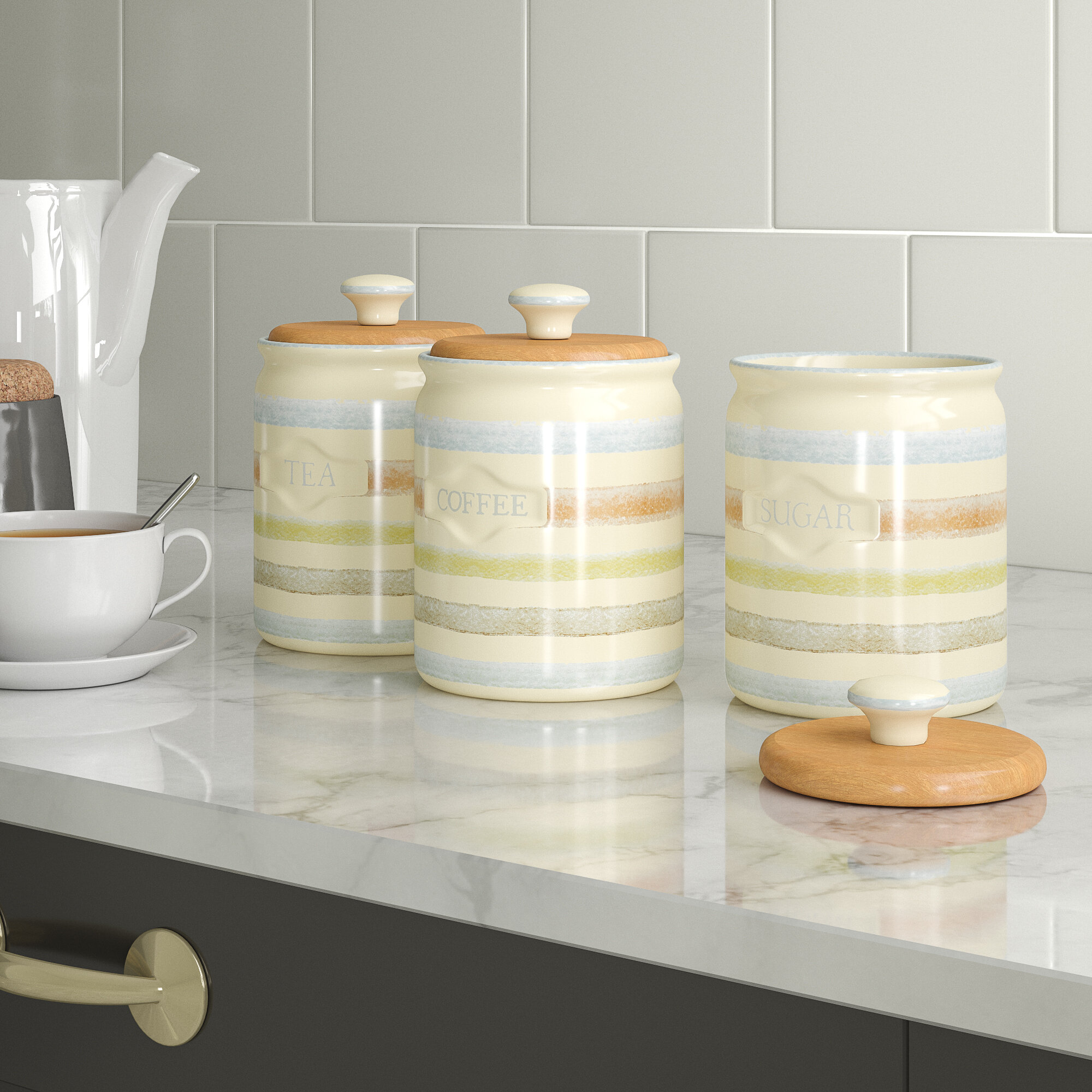 5a58a6dbb57 KitchenCraft Classic Striped 3 Piece Ceramic Coffee, Tea, & Sugar Set &  Reviews | Wayfair.co.uk