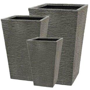 Foundry Select Brownridge 3-Piece Fiber Stone Pot Planter Set