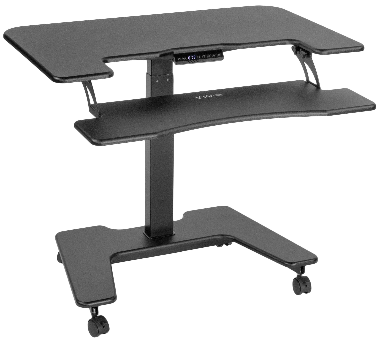 Vivo Electric Mobile Two Platform Height Adjustable Standing Desk Converter Reviews Wayfair Ca