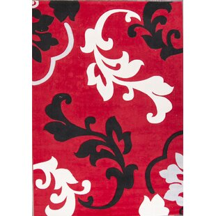 Top Reviews Fortier Traditional Kashan Persian Red/Black Area Rug By Ebern Designs