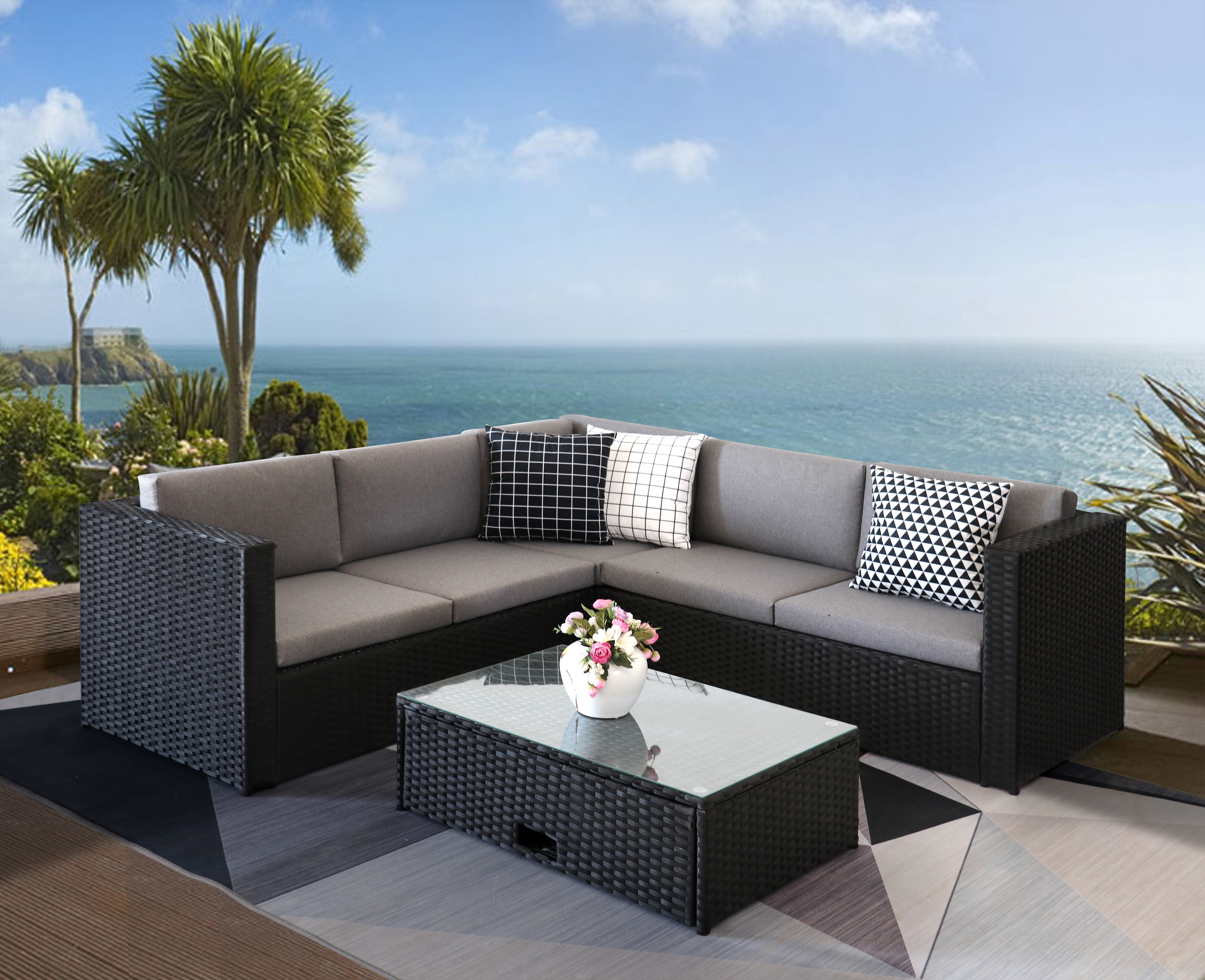 Latitude Run B9 9 Pieces Outdoor Furniture Complete Patio Cushion Wicjer  Rattan Garden Coner Sofa Couch Set