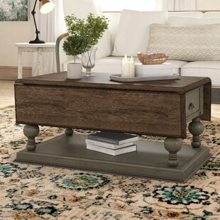 Serpentaire Castered Drop Leaf Coffee Table with Magazine Rack Lark Manor
