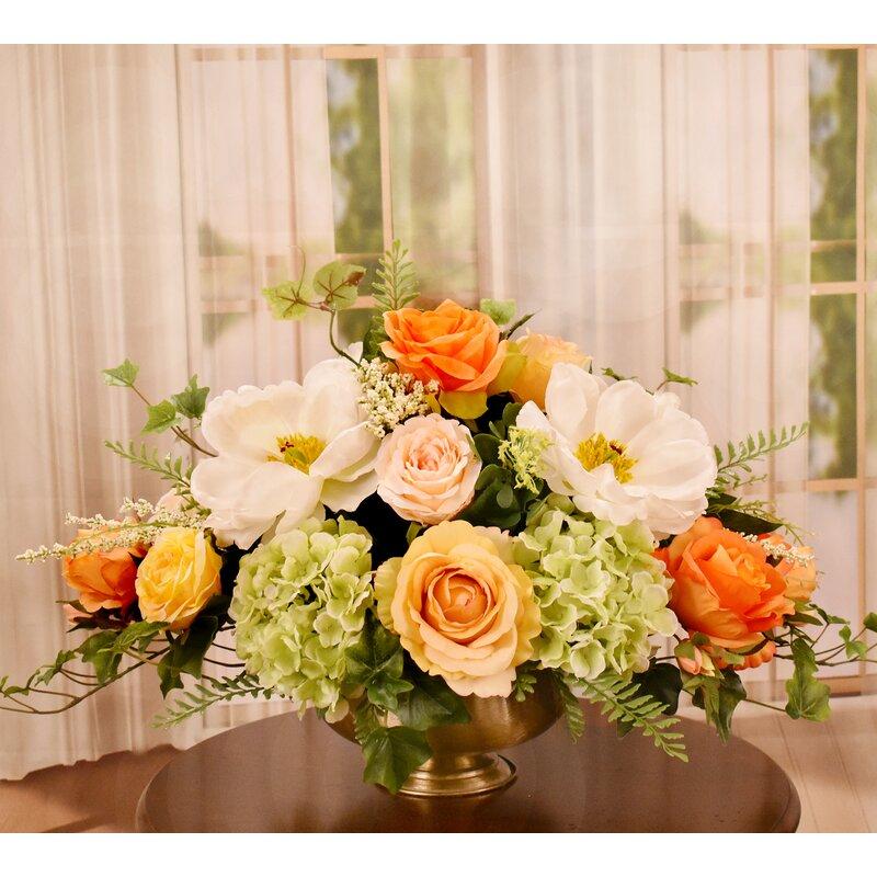 Floral Home Decor Magnolia and Rose Silk Flower Centerpiece