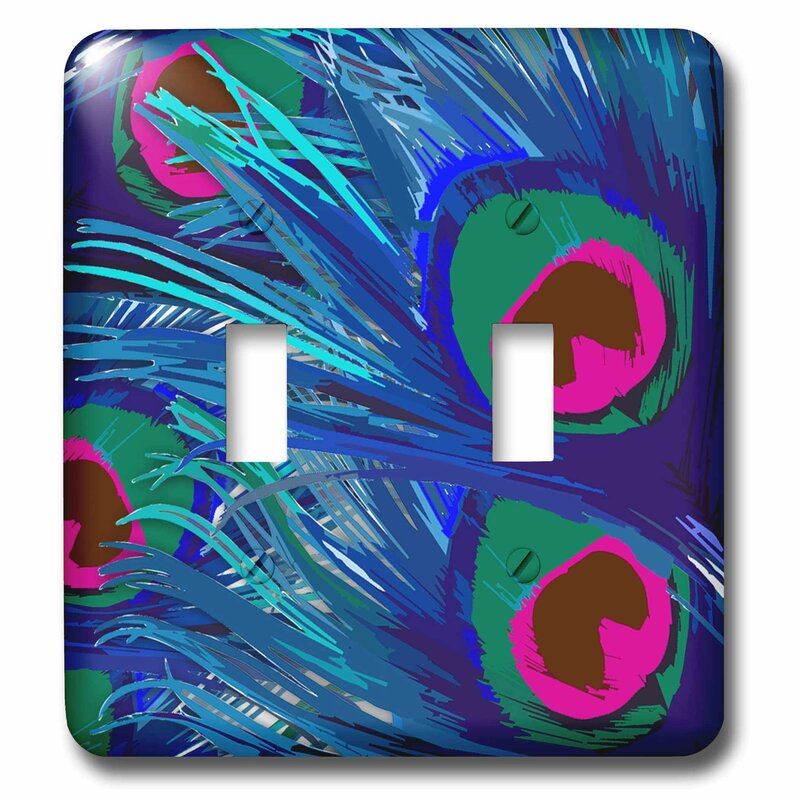 3drose Abstract Peacock Feather 2 Gang Toggle Light Switch Wall Plate Wayfair