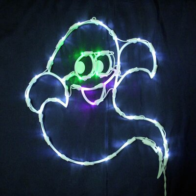 """Queens of Christmas 18"""" Halloween Ghost with 35 Multicoloured Lights (Set of 2)"""