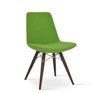 Eiffel MW Genuine Leather Upholstered Dining Chair in Pistachio Camira Wool