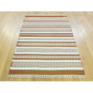 Inexpensive One-of-a-Kind Bedelia Reversible Striped Handmade Kilim Wool Area Rug By Isabelline