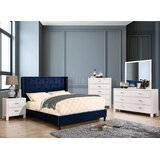 Eita Navy Blue Queen Bed With Night Stand, Dresser, Chest And Mirror Set by Mercer41