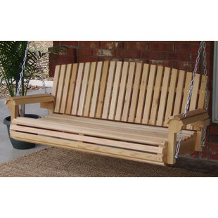 Hilyard Fan Back Cedar Porch Swing by Highland Dunes
