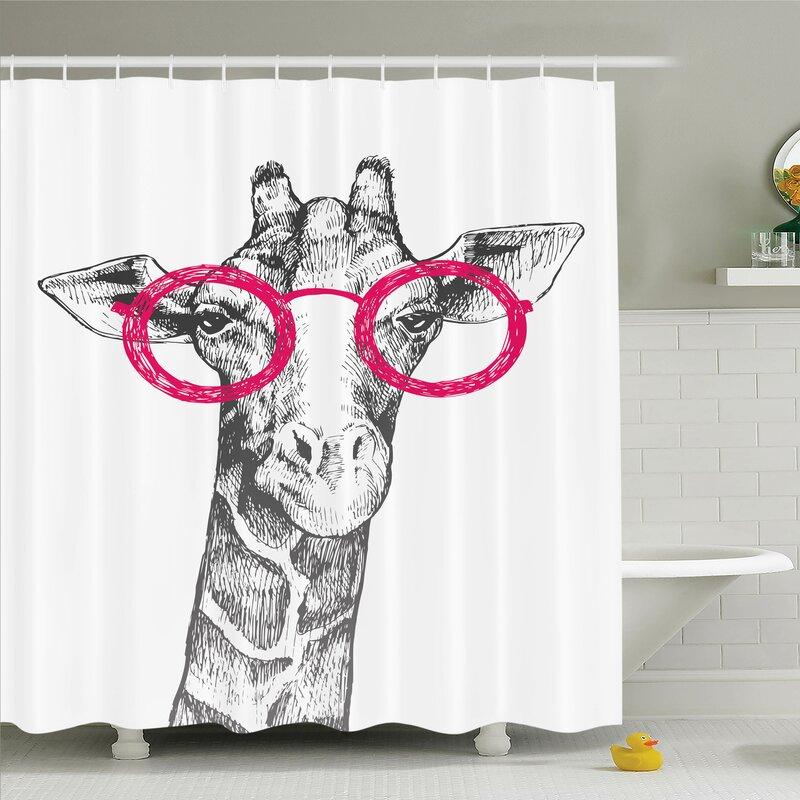 Ambesonne Giraffe Hipster Animal Glasses Shower Curtain Set Reviews
