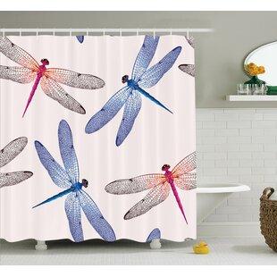 Affordable Desiree Dragonfly High Detailed Embellished Irregular Macro Retro Simplistic Art Print Shower Curtain ByWinston Porter