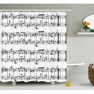 Patrice Music Musical Notes on The Clef Illustration Decorative Artistic Pattern Print Single Shower Curtain