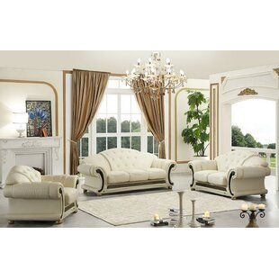 Best Deals France 3 Piece Leather Living Room Set by House of Hampton Reviews (2019) & Buyer's Guide