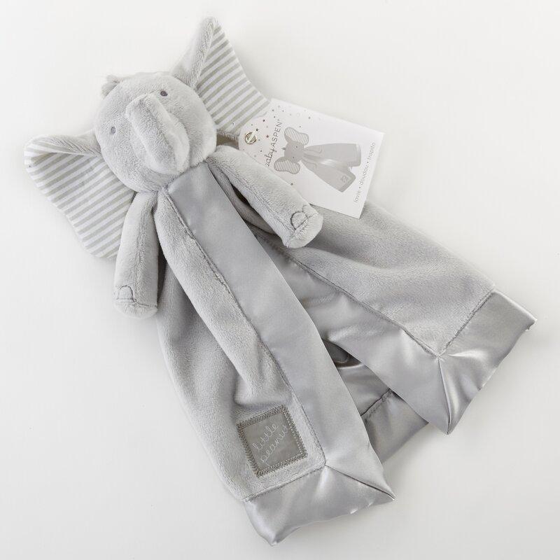Grey//White Baby Aspen Little Peanut Elephant Blanket and Rattle Set