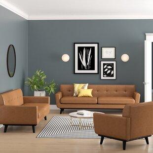 Saginaw Leather 3 Piece Living Room Set ByCorrigan Studio