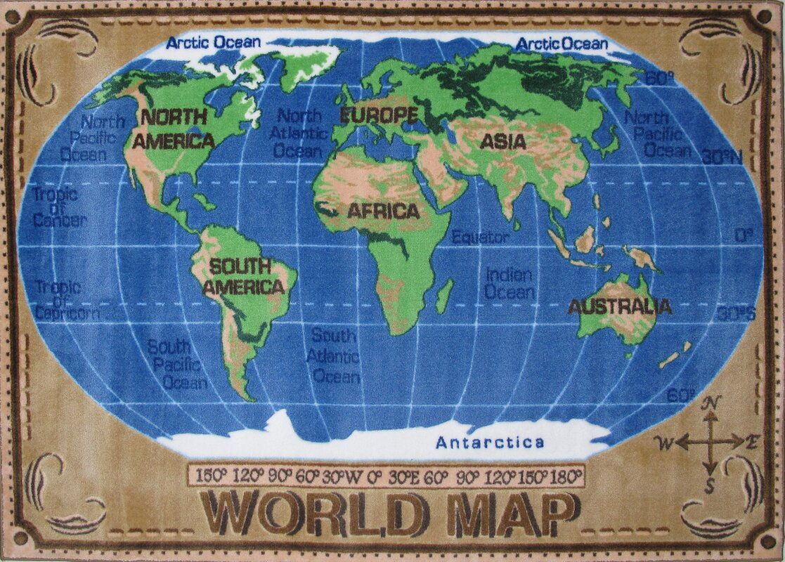 Fun Rugs Supreme World Map Kids Rug Reviews Wayfair - World map for kids