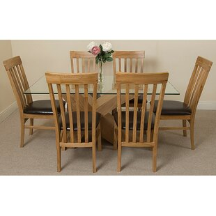 Ediz   Solid Oak Glass Dining Set With 6 Chairs By Ebern Designs