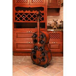 Fleur De Lis Living Gumbs Wooden Violin 10 Bottle Floor Wine Rack